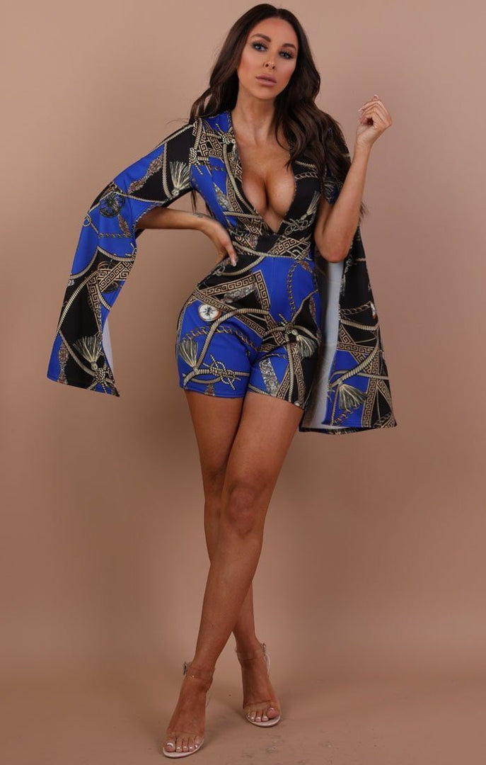 Blue Scarf Print Plunge Cape Playsuit – Diana