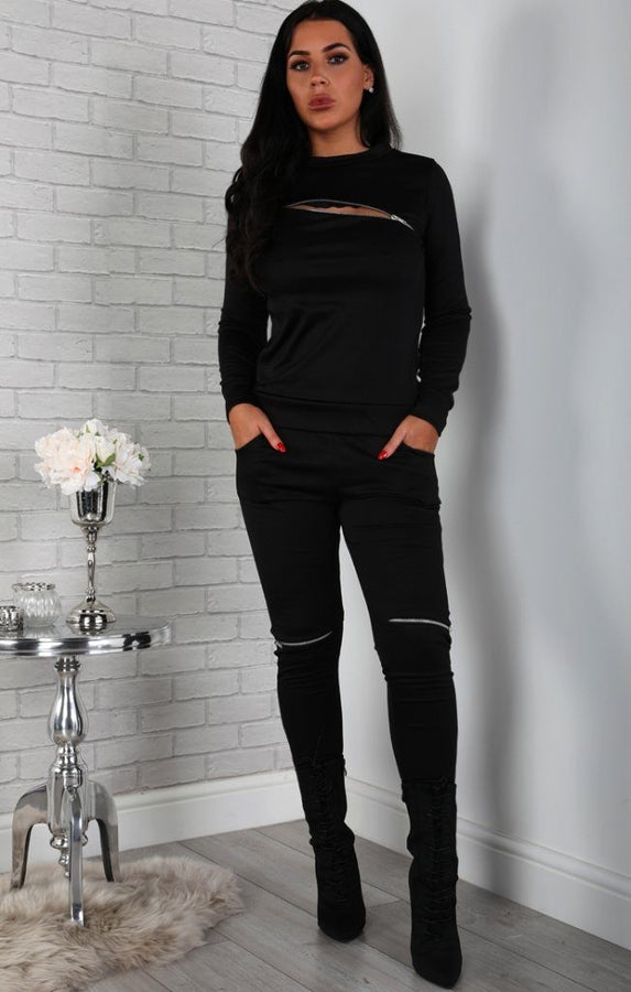 Black Zip Detail Loungewear Set