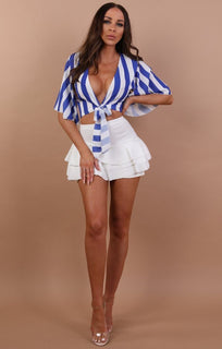 Blue Striped Tie Front Crop Top - Reanna
