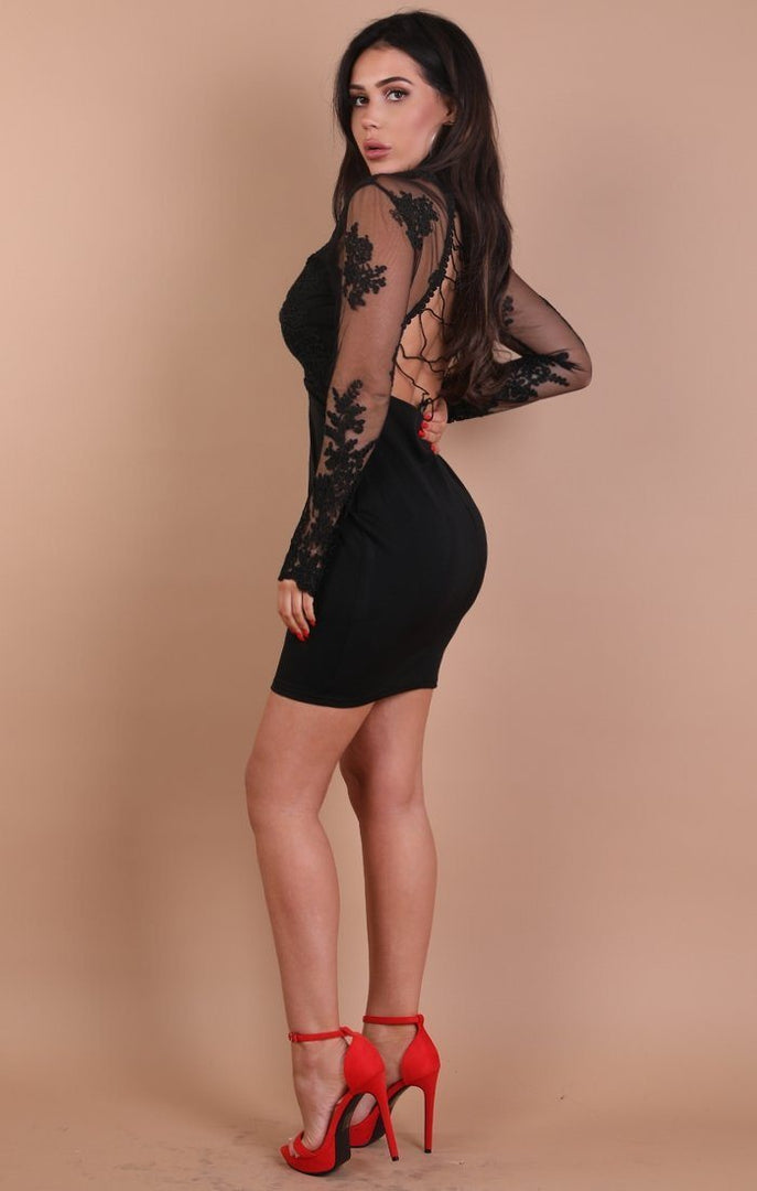 Black Long Sleeve Lace Detail Mini Dress – Sophia