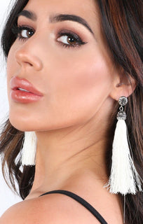 Cream Embellished Tassel Earrings