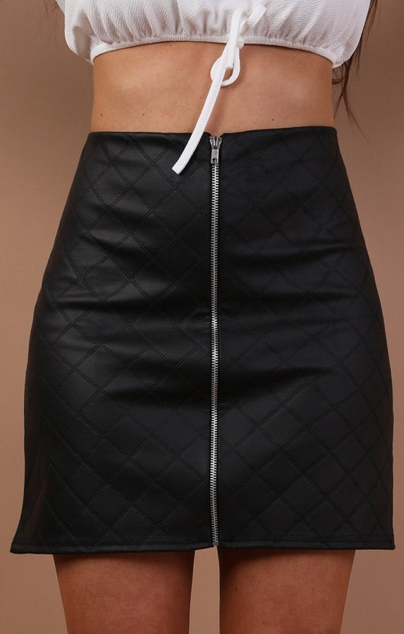 Black Quilted Faux Leather Mini High Waist Skirt - Yazmin