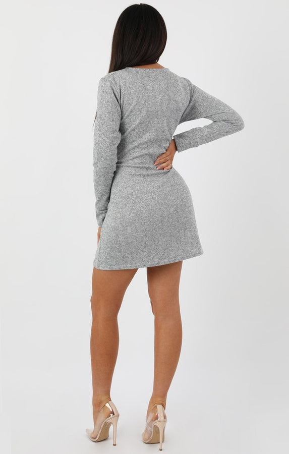 Grey Marble Knit Tie Long Sleeve Dress - Vivienne