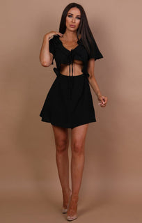 Black Cut Out Frill Detail Dress - Amaria