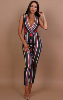Black Sleeveless Belted Stripe Jumpsuit - Samantha