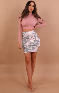 Dusky Pink High Neck Mesh Crop Top - Rio