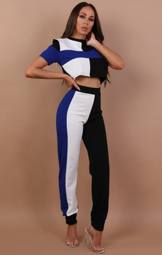 Blue Contrast Cropped Loungewear Set - Quinn