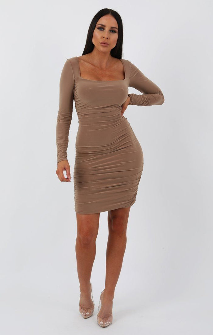Beige Slinky Square Neck Ruched Bodycon Dress - Cristbal
