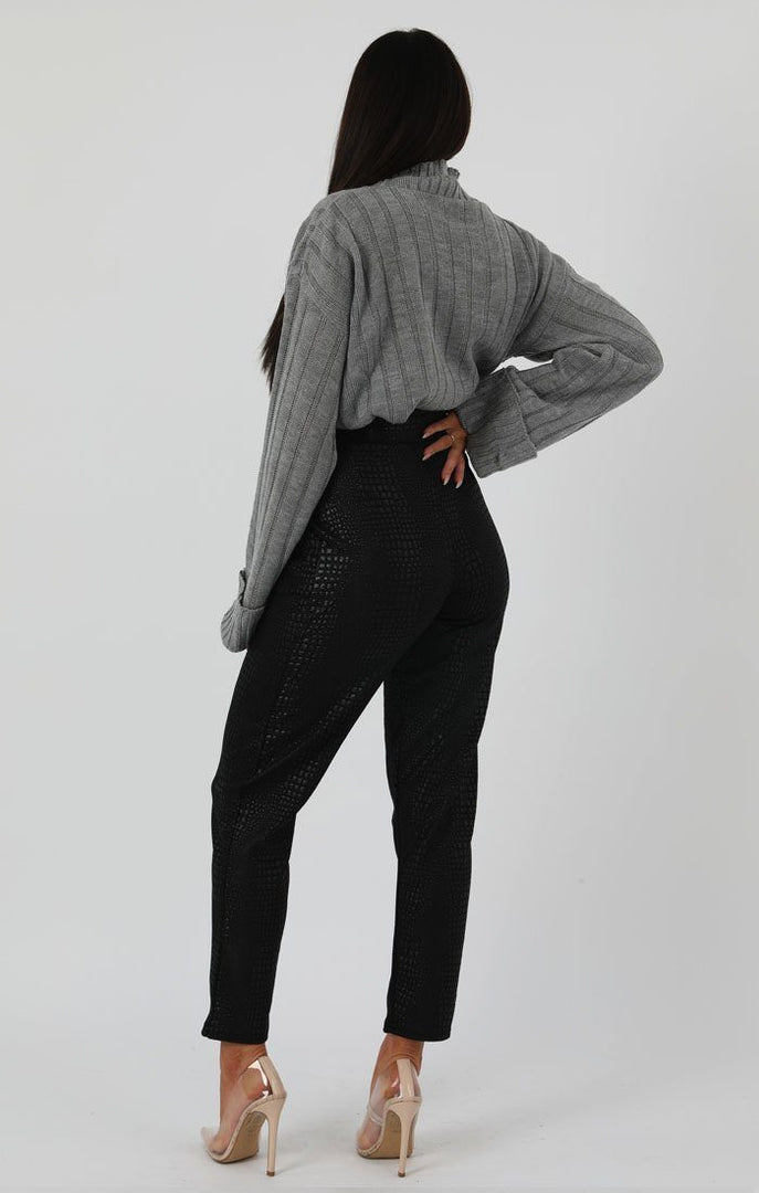 Grey Ribbed Knit Oversized High Neck Jumper - Elisha