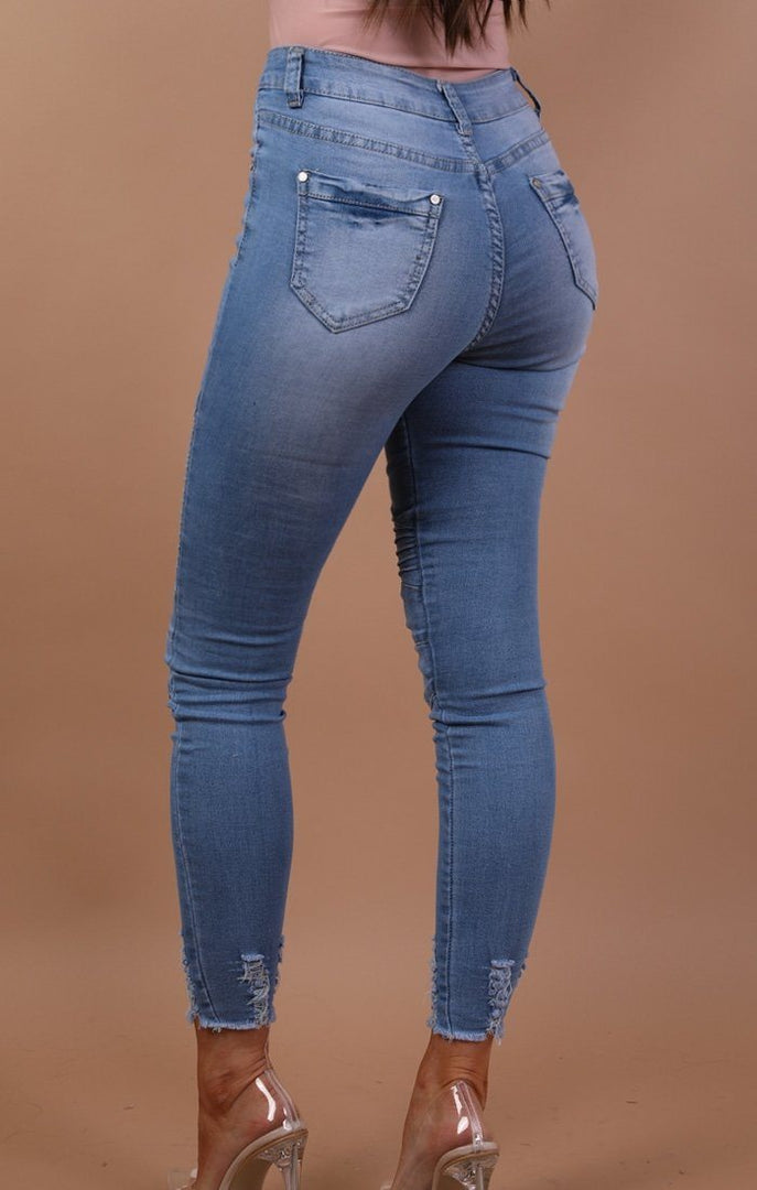 Blue Ribbed Skinny Biker Jeans - Willow