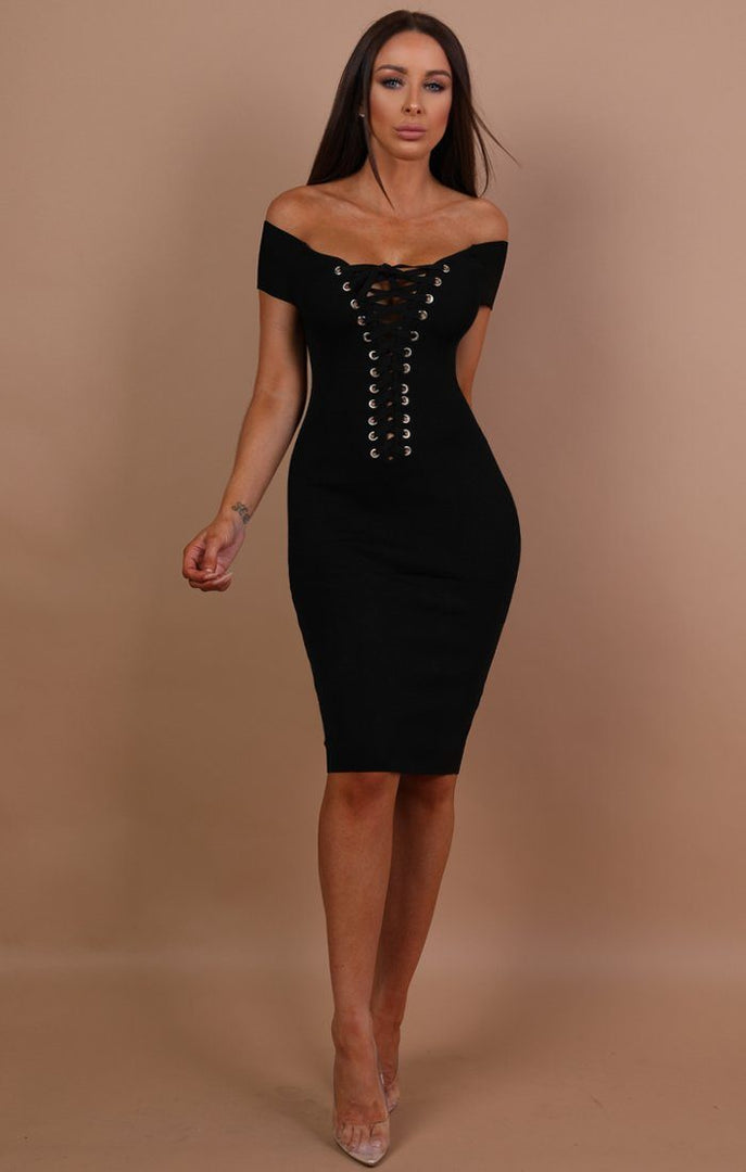 Black Open Back Lace-up Mini Dress - Joy