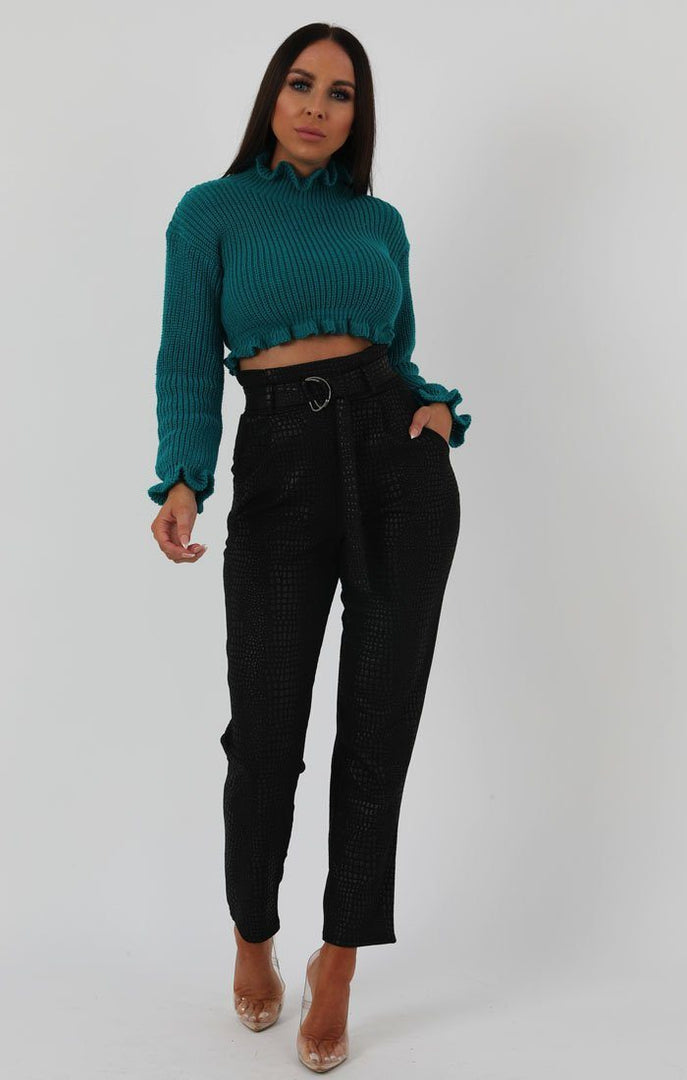 Jade Green Ruffle Hem Chunky Knit Crop Jumper