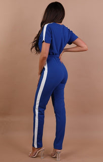 Blue With White Stripe Jumpsuit - Montana
