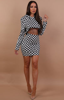 Black Check And Mesh Co-ord Set - Celeste