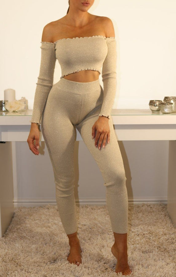 Champagne Sparkle Ribbed Leggings