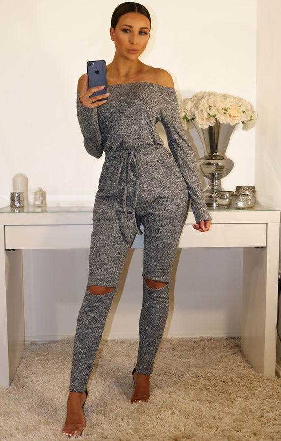 Grey Luxury Knit Lounge Bardot Jumpsuit