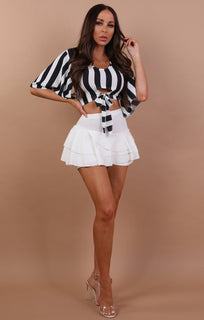 Black Striped Crop Top - Abbey