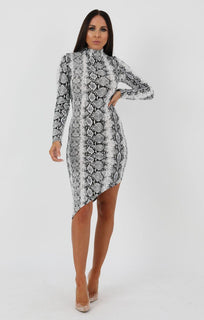Animal Snake Print Long Sleeve High Neck Split Bodycon Dress - Sabrina
