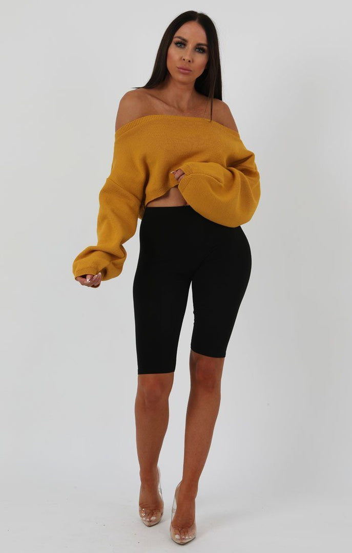Mustard Oversized Crop Knit Jumper - Toni