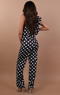 Black Polka Dot One Shoulder Frill Jumpsuit - Becca