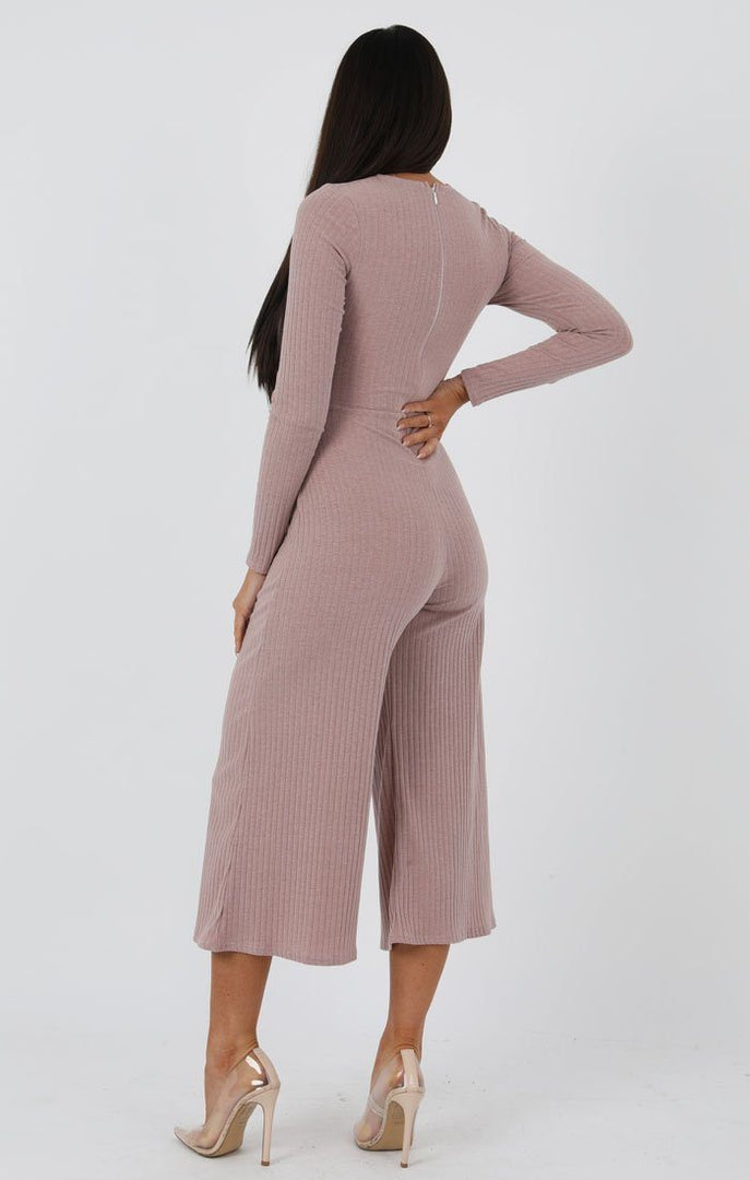 Rose Front Twist Culotte Ribbed Jumpsuit - Fiona