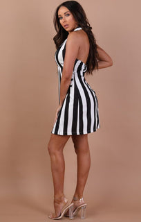 Black-and-White-striped-Halter-neck-Dress–jadia