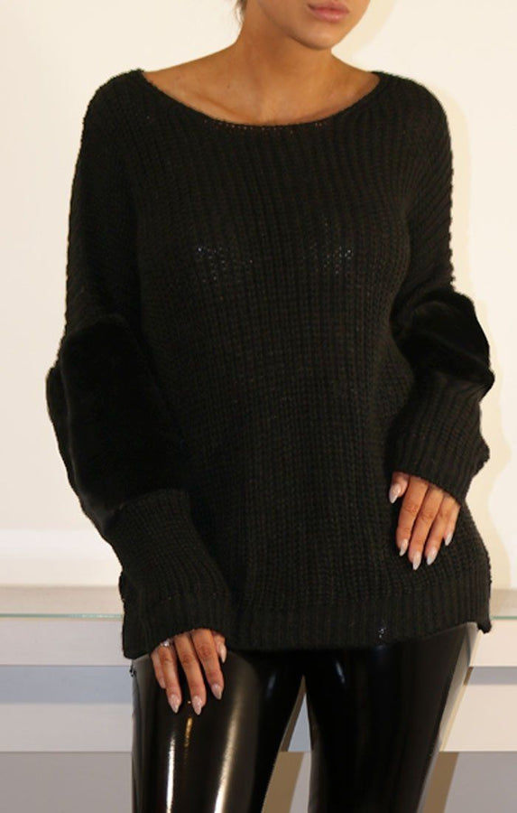 Black Oversized Faux Fur Panel Knitted Jumper