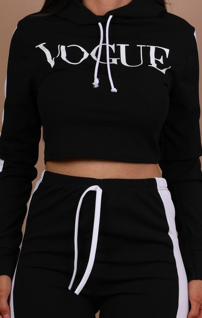 Black Hooded Vogue Loungewear Set - Adina