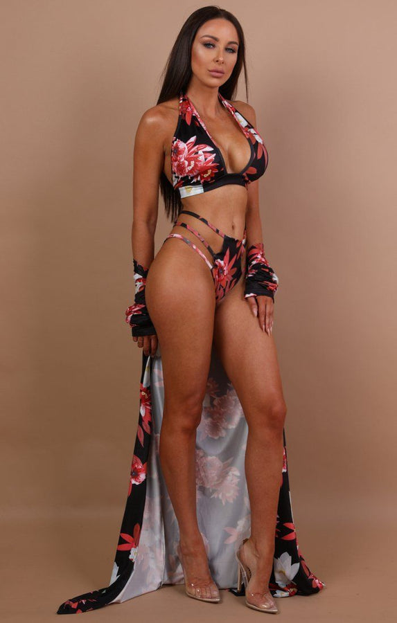 Black Floral Three Piece Swimwear Set - Lou