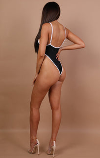 Black High Rise Swimsuit - Elise