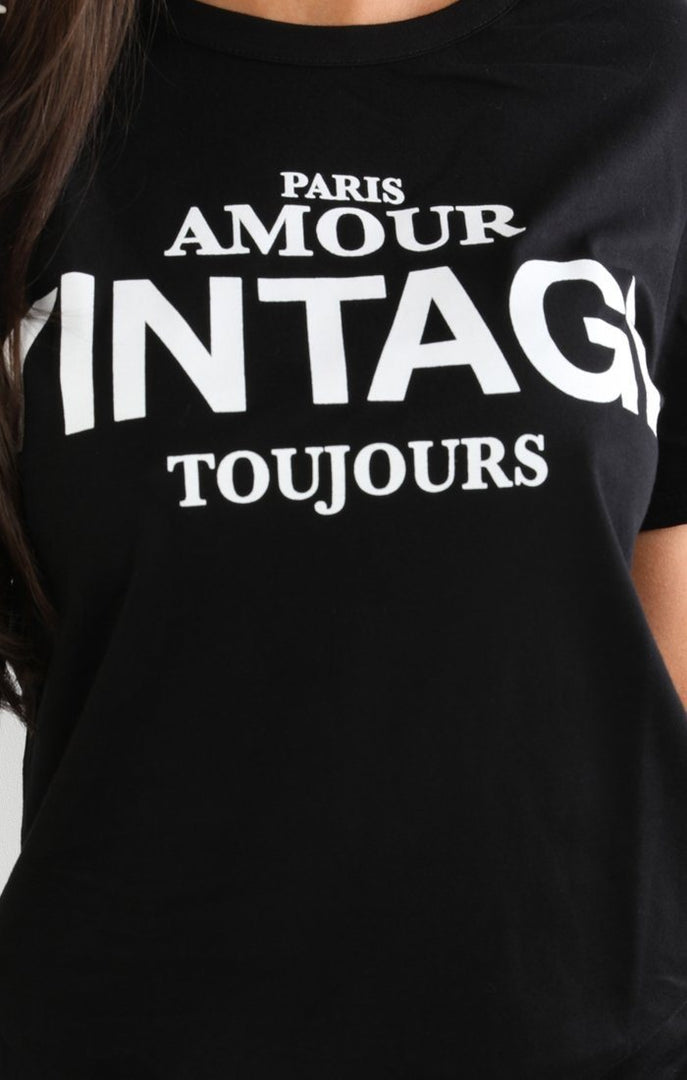 Black Vintage Slogan T-shirt