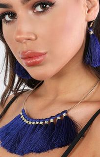 Blue Embellished Tassel Earrings And Necklace Set