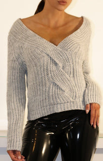 Grey Pleated Cable Knit Jumper