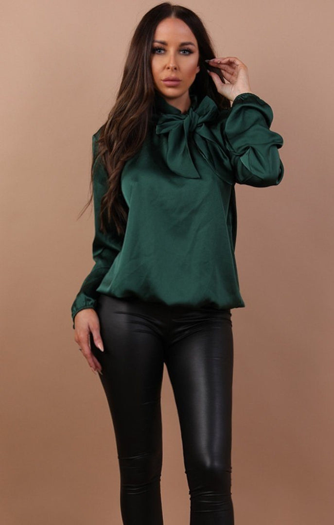 Emerald Satin Bow Tie Shirt - Millie