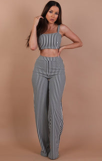 Black & White Crop Top And Trouser Two Piece Co-ord Set – Katie