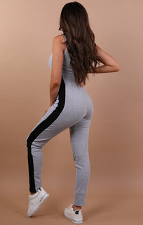 Grey Side Stripe Jumpsuit - Alana