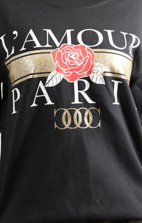 Black L'amour Paris Glitter Slogan Jumper