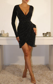 Black Sparkle Wrap Mini Dress