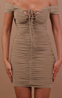 Camel Slinky Ruched Bardot Dress Carli