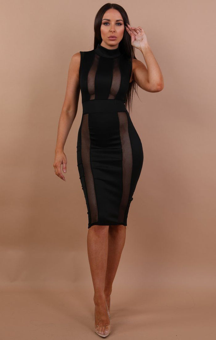 Black High Neck Mesh Front Midi Dress - Nikol