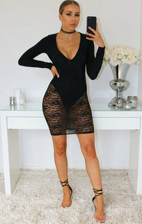 Danielle Black Lace Detail Bodycon Mini Dress