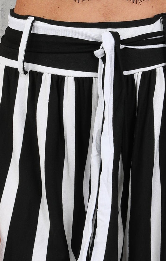 Black & White High Waist Stripe Wide Leg Trousers - Lia