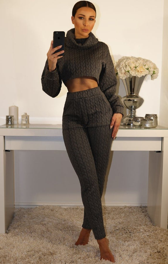 Grey High Neck Luxe Special Loungewear Set