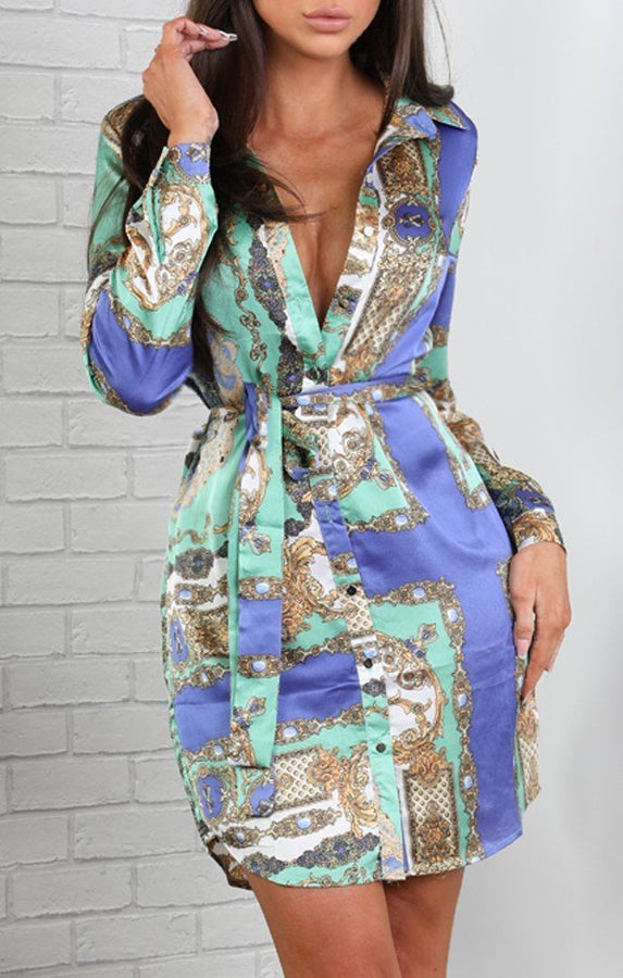 Green Scarf Print Tie Shirt Dress
