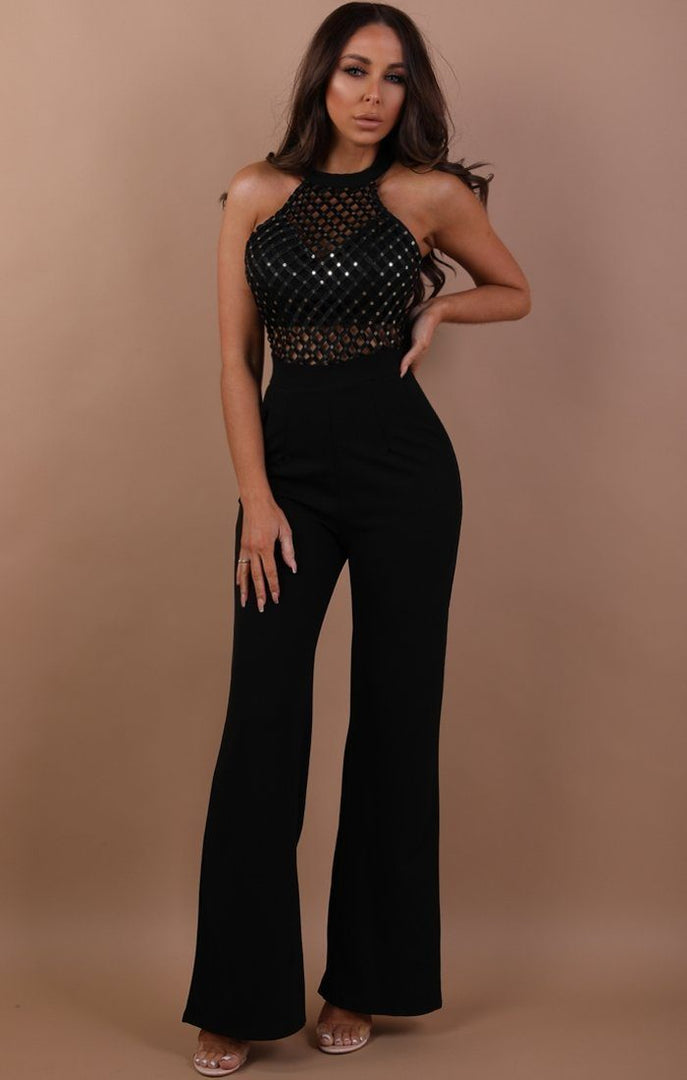 Black Halterneck Woven Jumpsuit - Kitty