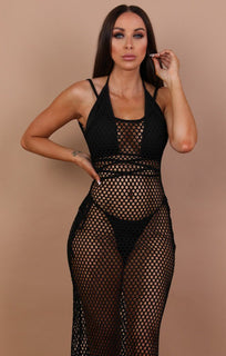 Black Mesh Fishnet Dress - Fern