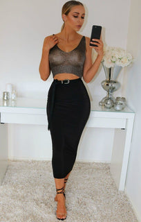 Charcoal Metallic Knit Crop Top