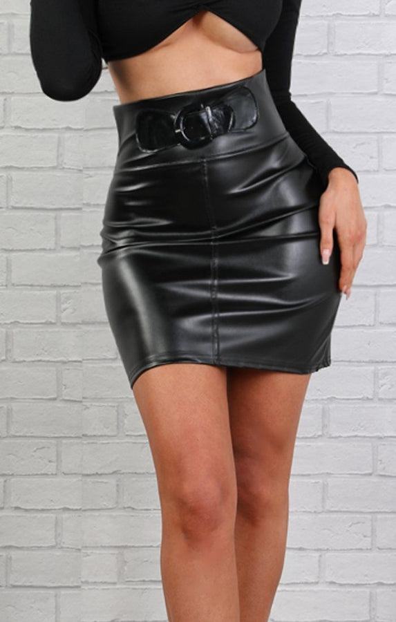 Black Faux Leather Belt Detail High Waist Skirt – Jessica