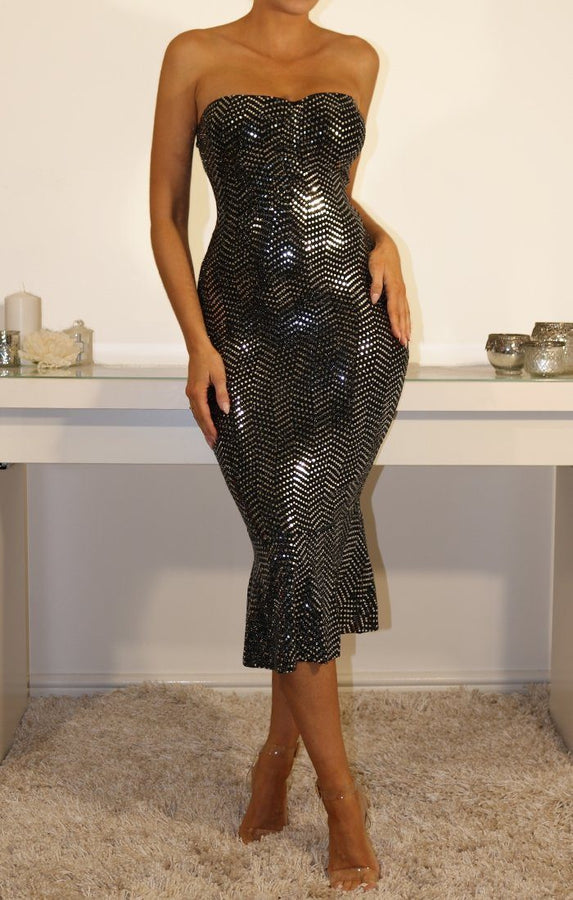 Black Sequin Bandeau Fit & Flare Dress