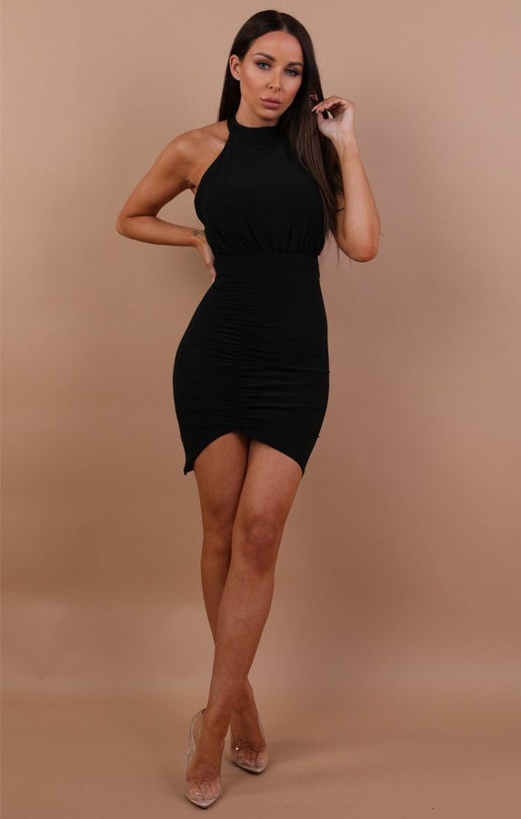 Black Ruched Lace Up Bodycon Dress - Mia